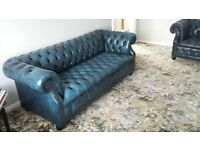 royal navy blue leather chesterfield sofa