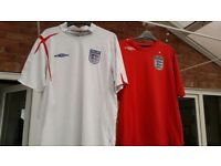 Two England Football Shirts Size Large