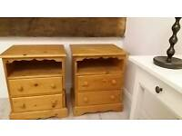 Chunky pretty pine bedside cabinet