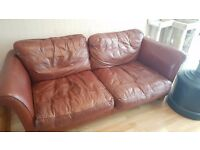 3 Seater Leather Sofa with Pouffe.