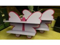 Two butterfly wall bookshelves for baby girl room