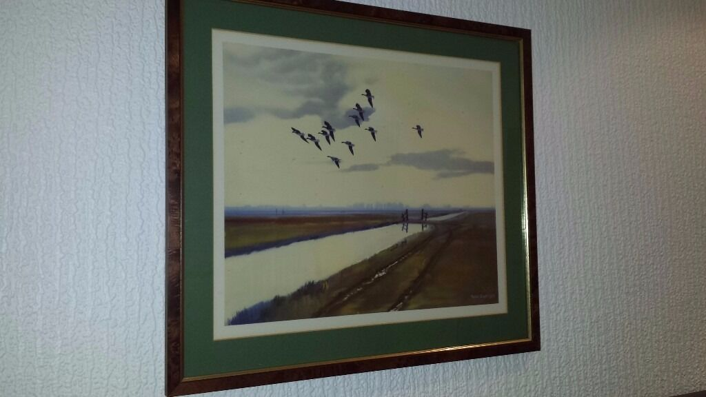 """Sir Peter Scott picturepink feet"""" professionally framedin Keynsham, BristolGumtree - Picture by Sir Peter Scott entitled"""" Pink Feet """". Professionally framed, size 51 cms wide x 45 cms high. Very good condition . Picture depicts geese flying over the fens"""