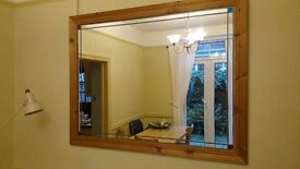 Large Art Deco style wooden frame wall mirror 104cm x 134cm