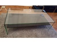 Glass coffee table approx 1.5m