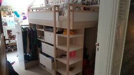 High Bed (Vox) for older child, with wardrobe, drawers and storage - single