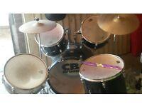 Seven piece drum kit in fair condition