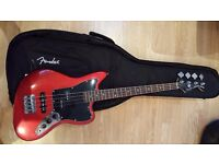 Fender Squier Jaguar 3/4 scale Bass plus gig bag - rarely used.