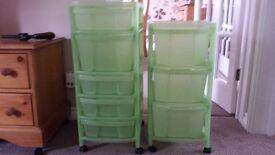 Green Plastic Wheeled Storage Unit x 2