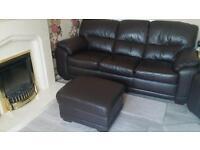 Dark Brown 3 Seater Sofa with matching Storage Footstool - Bargain!