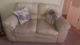 2 Seater Sofa in Imitation Cream Leather with 2 matching Arm Chairs