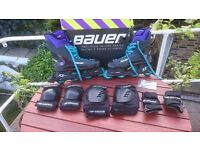 Size 11, Bauer Inline skates, with knee, wrist, elbow protectors and other accessories