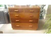 Solid vintage oak chest of drawers