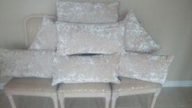 paoletti roma cream crushed velvet pillows