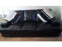 Black leather DFS sofa