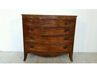 Georgian Inlaid Mahogany Bow Fronted Chest of Drawers