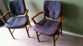 Pair of mid century vintage dining carver chairs grey