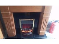 Fire Surround with Fire and Black Quality Marble Hearth & Back