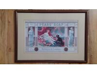 PEARS SOAP, VINTAGE ADVERT, FRAMED PICTURE