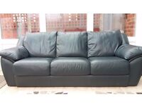 green colour 3 seater leather sofa for free to collect