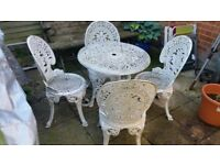 antique garden table and 4 chairs