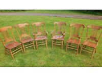 Gorgeous Oak Dining Chairs - Set of Six (Two Carvers) - BARGAIN - FREE DELIVERY IN NW BRISTOL