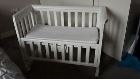 Troll White Wooden Bedside Crib - next to me sleeping cot - excellent condition