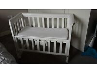 Troll White Wooden Bedside Crib - next to me sleeping - excellent condition