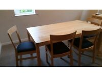 Extending Dining Table and 4 chairs plus sideboard/dresser