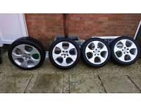 4 Genuine Volkswagen golf gti 17 inch alloy wheels and tyres.