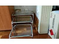 nest of glass crome tables