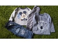 9/12 months bundle Disney PJs, Brand New Blue Primark top, Tu Jeans