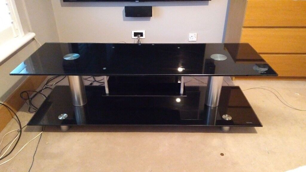 Black glass TV stand very large