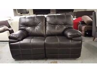 New ScS Axis 2 Seater Electric Recliner Black Leather Sofa **CAN DELIVER View Collect Kirkby NG177