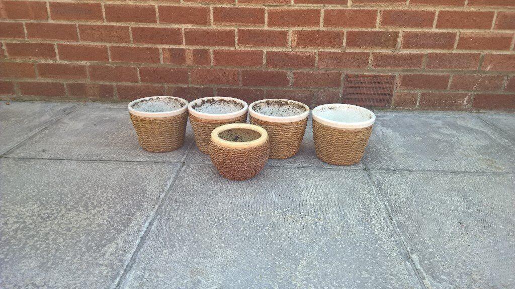 5 flower pots with wicker surround