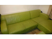 DFS Leather Corner Sofa in pistachio colour + right side chaise long + 1 armchair. PICK UP ONLY