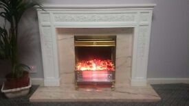 fireplace, surrounds in excellent condition, stone base and wooden effect frame
