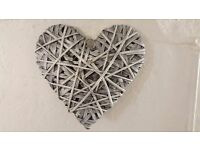 Silver-coloured Large Rattan Hanging Lovehearts in Good Condition