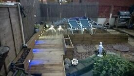 32mm TIMBER DECKING with LIGHTING - 9 sqr mtrs - ready for CHRISTMAS