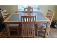 Dining Table with tempered glass inlays and 4 Chairs 150cm x 90cm x 75cm (H)