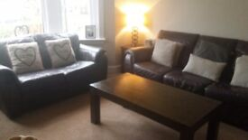 Couch 3 seater + 2 seater + single chair + coffee table. Sell separately