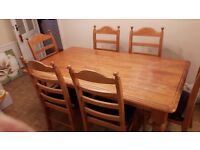 Hardwood 6 foot Dining Table and 6 Chairs
