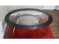 Oval shape Glass dining table