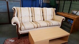 Cream striped vintage high back 3 seater sofa