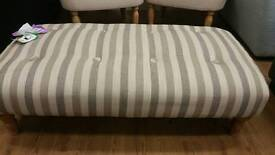 New large striped cream and coffee striped footstool