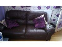 3 seater chocolate leather sofa