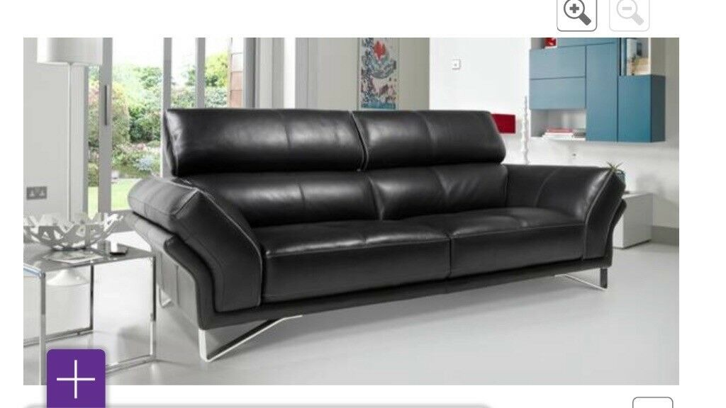 bb3a1395549 2 x leather sofas and foot stool