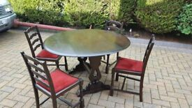 PRIORY DK WOOD GATE LEG DINING TABLE WITH 4 CHAIRS IN RED VELOUR/VELVET