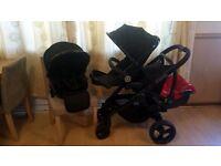 iCandy Peach 3 Double Pushchair Pram Stroller Maxi Cosi Cabriofix Car Seat Rain Covers
