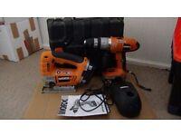 WORX combi drill +Jigsaw 18 v ,1.7 Ah +2 battereis