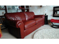 Leather Sofa-bed. Large, robust, two-seater sofa with sprung mattress. Quality must-see item.